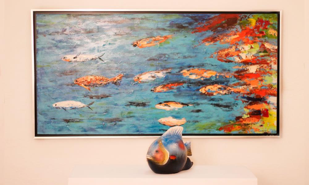 Cuadros con peces cuadro en lienzo los peces del mar y de for Cuadros con peces